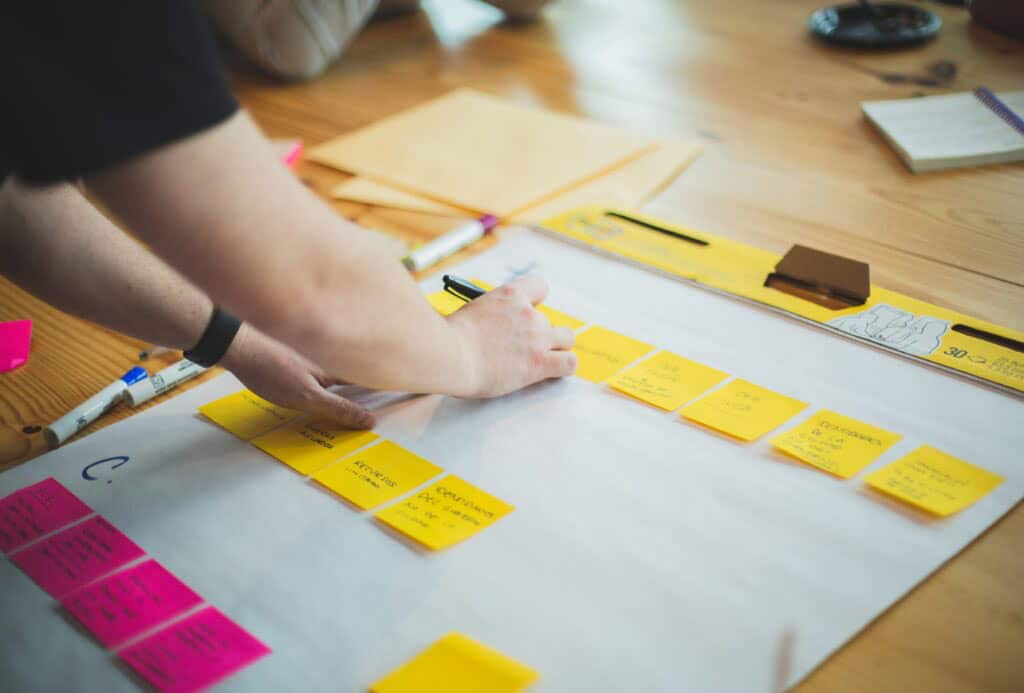 Employees who are in the middle of an Innovation lab with Encompass Innovate and are making notes as part of an exercise.